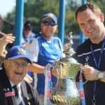 Eagles President Frank Farmer and Secretary James Smiles with the Emirates FA Cup