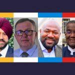 Bedfordshire PCC Candidates 2021 (l-r) Jas Parmar (LD), Patrick Hamill (IND), Festus Akinbusoye (CON), David Michael MBE (LAB)