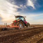 Farming tractor field