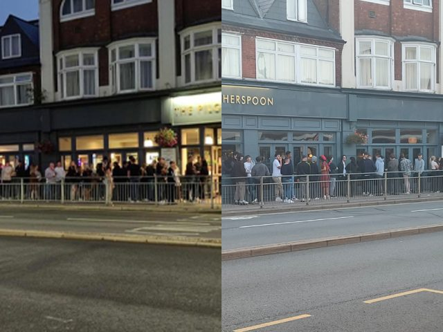 Spot the difference. Two photos taken almost a month apart show no change in social distancing outside the Bedford Wetherspoons pub 'The Pilgrims Progress'. The picture on the left was taken by @kevin27677521 on 15 August, the right hand picture was taken on 12 September by Nigel Smith.