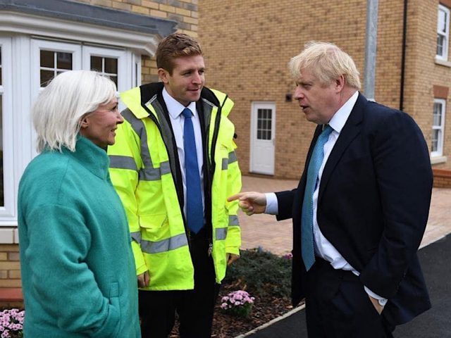 (l-r) Mid Bedfordshire Conservative MP Nadine Dorries, Conservative PPC for Bedford and Kempston Ryan Henson and Prime Minister Boris Johnson.