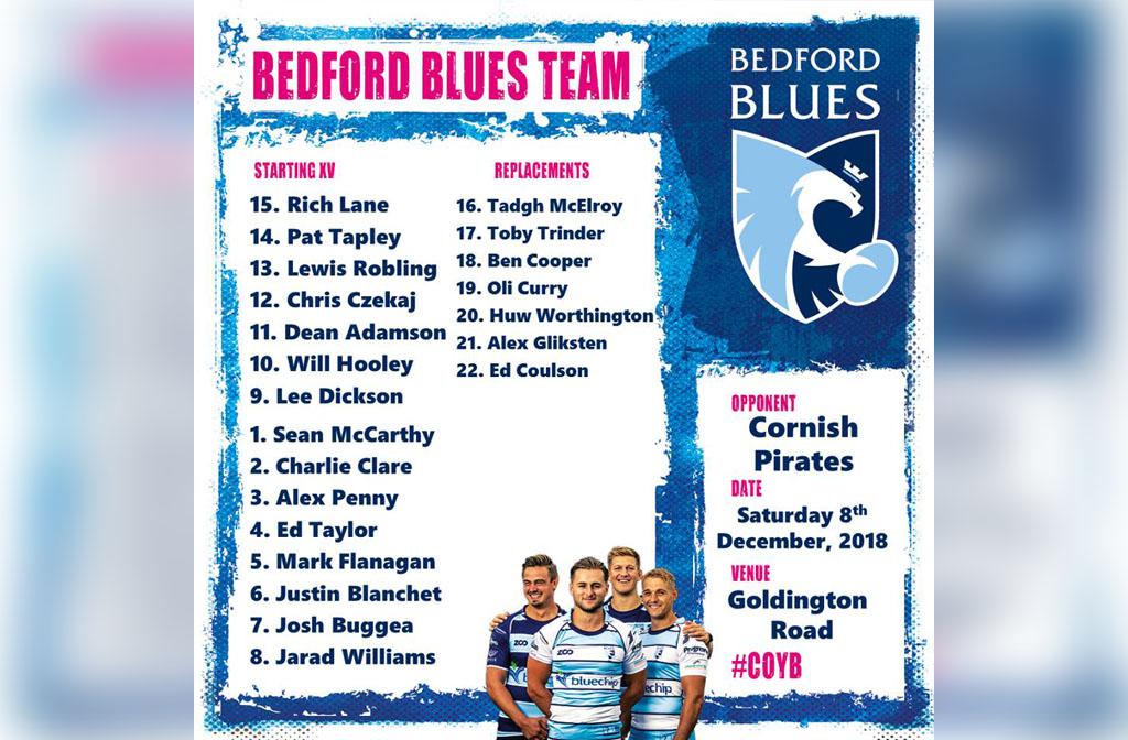 Blues v Pirates 8 Dec Squad