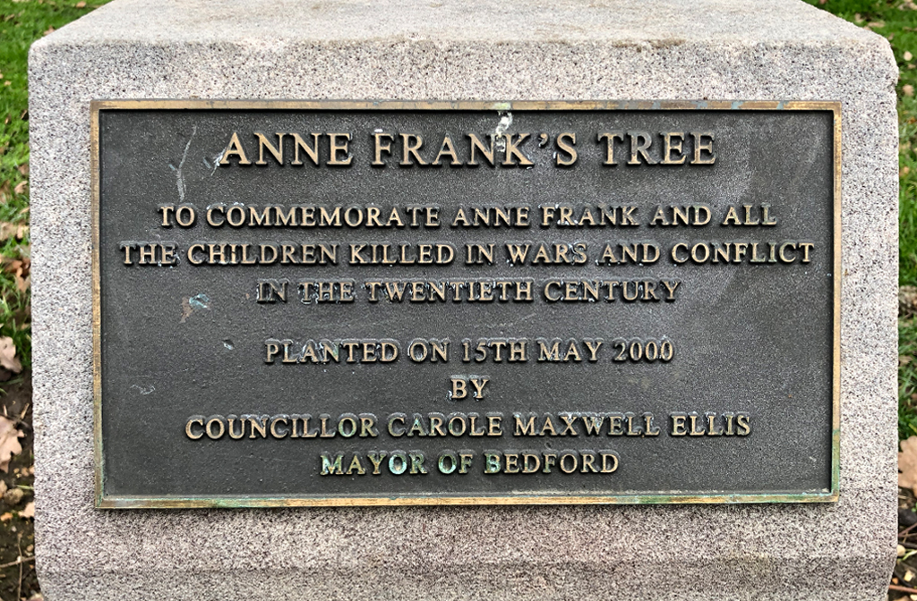 Anne Frank's Tree Plaque