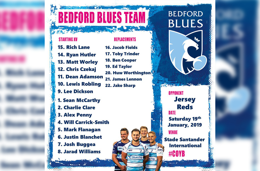 Bedford Blues v Jersey 19 Jan 19