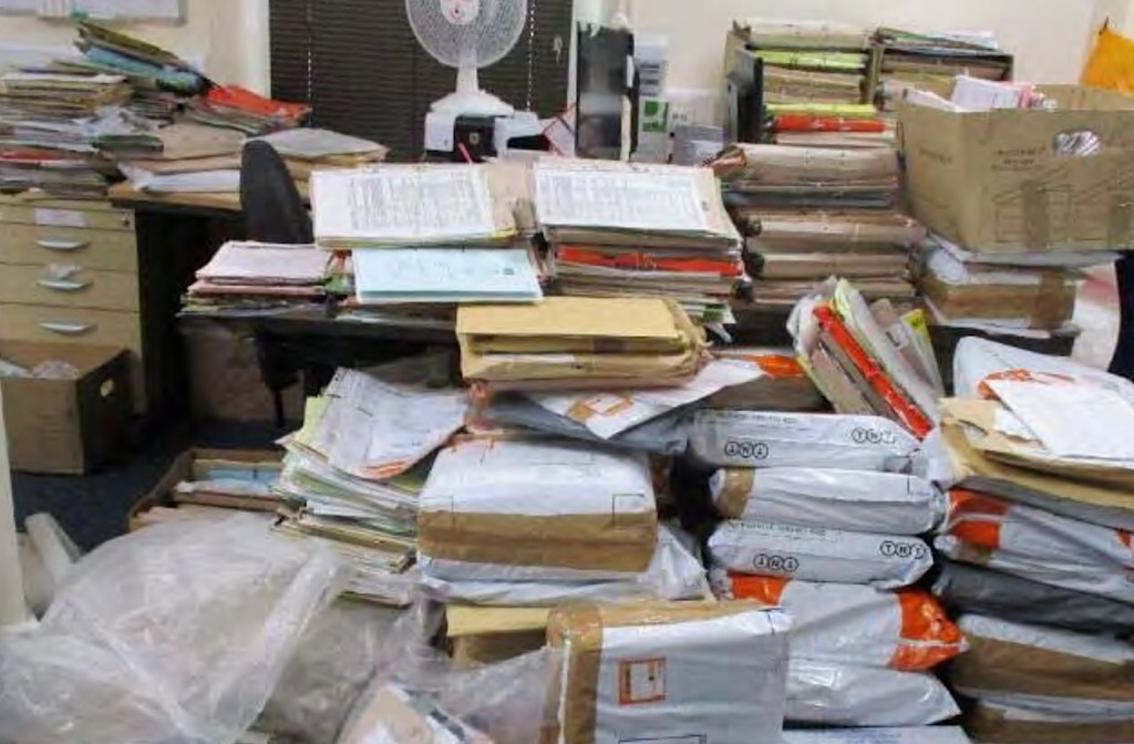 HMP Bedford: files waiting to be processed in the offender management unit