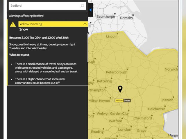 Met Office Yellow warning snow map 29 and 30 Jan