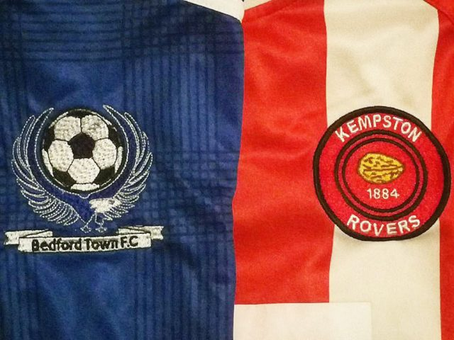 Bedford Town V Kempston Rovers shirts March 2019