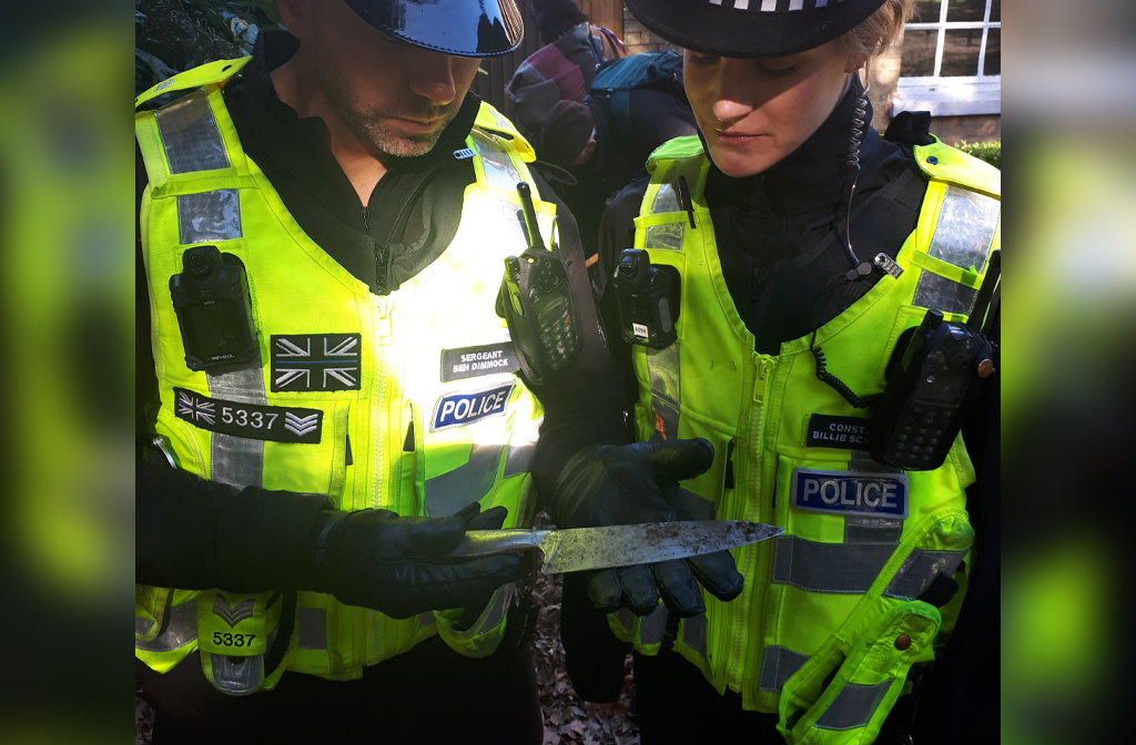 Kempston Community Weapons Sweep March 2019 Police holding knife
