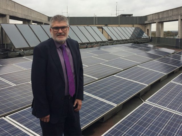 Mayor Dave Hodgson with Borough Hall Solar Panels