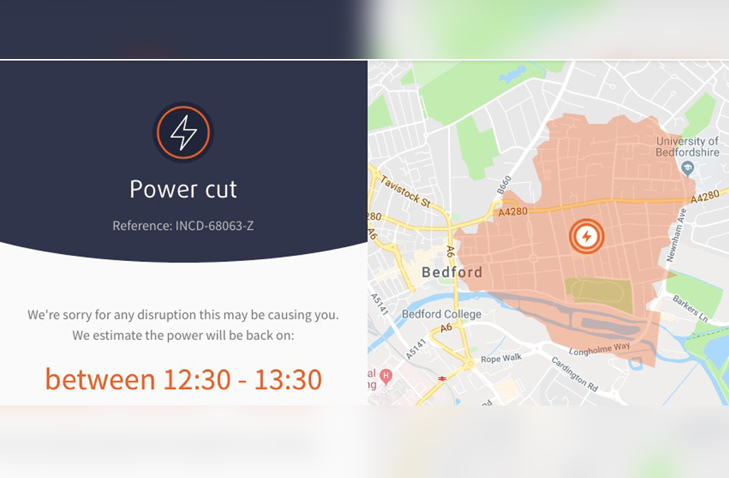 Power Cut Bedford town Centre - power cut map 12 March 2019