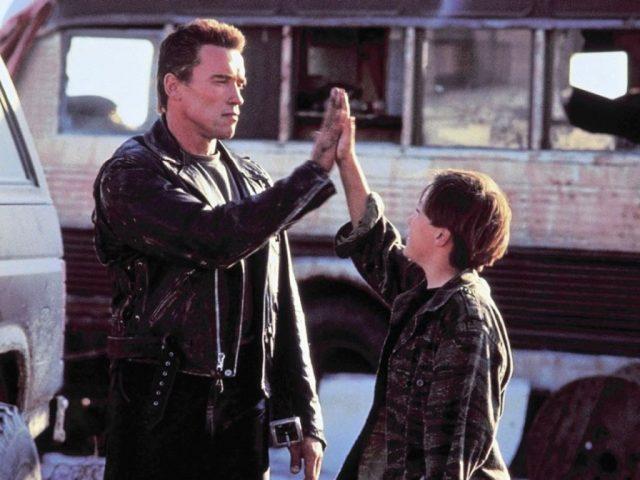 Terminator 2 Arnold Schwarzenegger high fives Edward Furlong