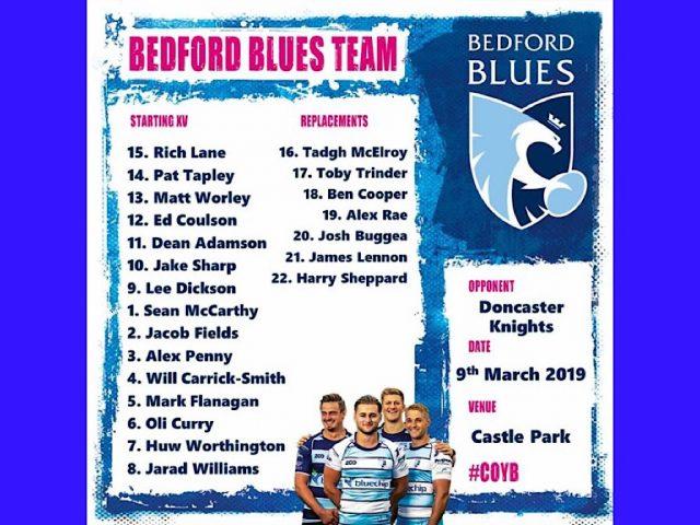 Bedford Blues team v Doncaster March 2019
