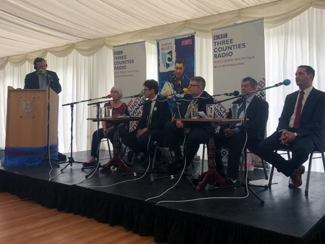 Bedford Borough Mayoral Hustings 2019 candidates on stage