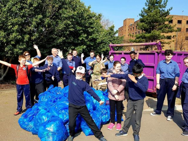Bedford River Clean up young volunteers