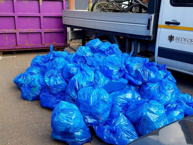 Bedford River Clean up bags of rubbish