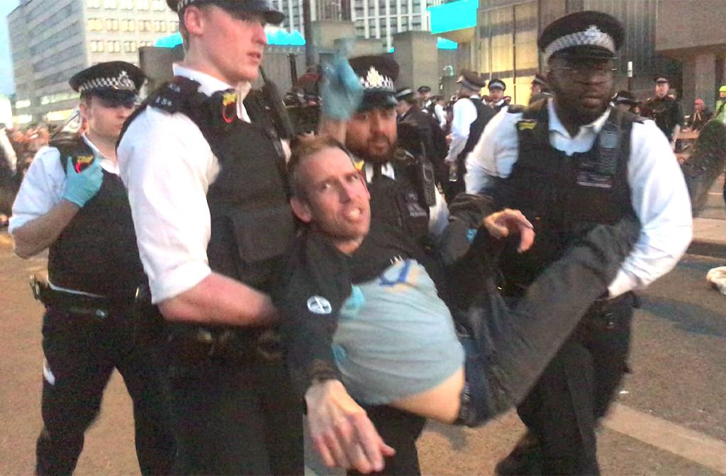 Etienne Stott being arrested Extinction Rebellion protests April 2019