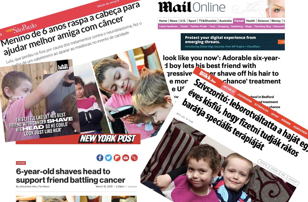 Lulu De Vries and Oisin Ruskin head shave press coverage