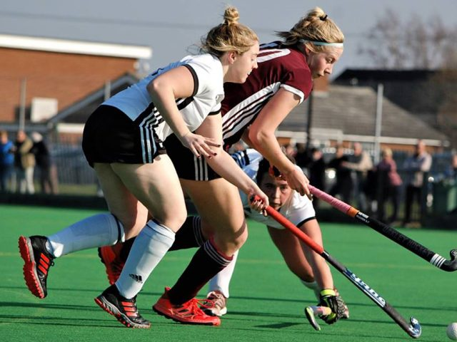 Maddie, in maroon, playing for the Ladies' 1s this season