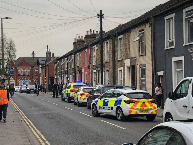 Police on the scene Prebend Street fight 23 April