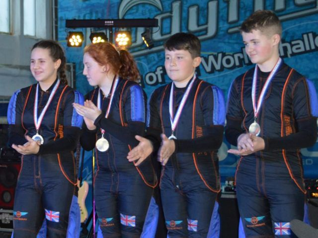 Skydive Recruitz collect their bronze medals at the World Challenge 2019