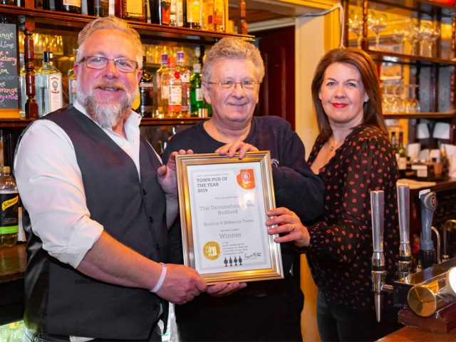 The Devonshire Arms awarded North Beds CAMRA Town Pub of the Year