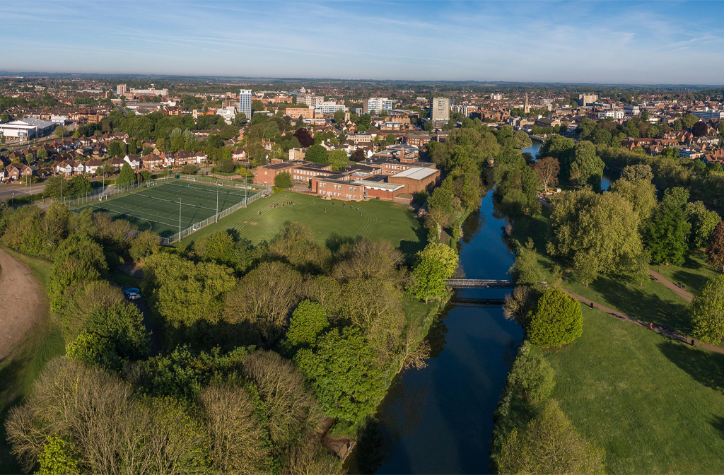 The River Great Ouse and Bedford Girls School. Credit: ADC Films