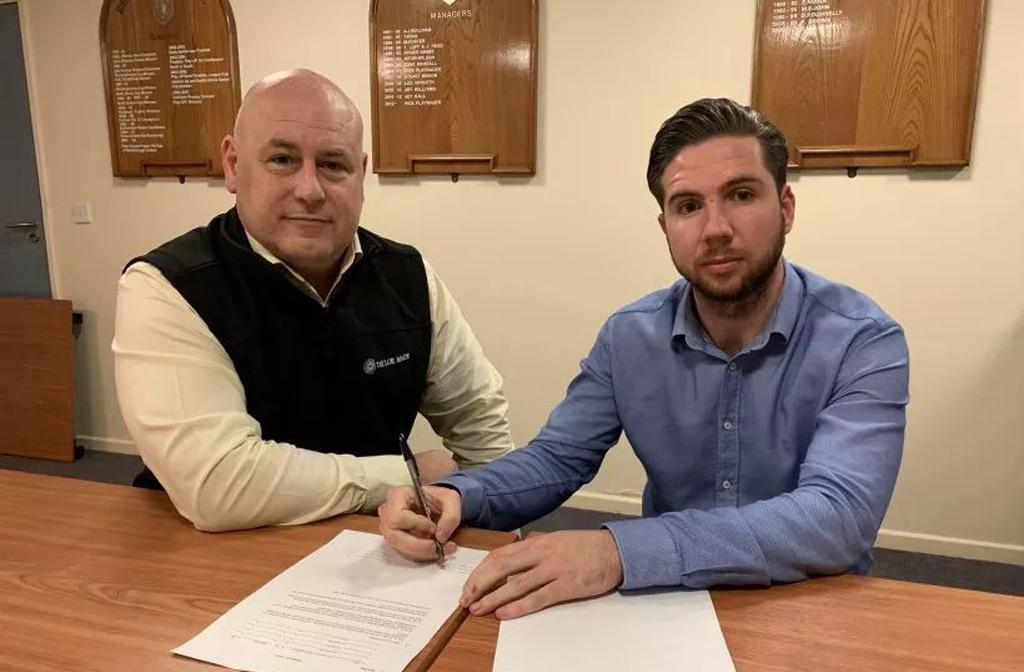 Bedford Town FC defender Brett Longden with manager Jon Taylor