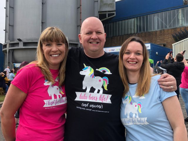 Organisers Mel Stratton (l) and Sophie Louise (r) with Lulu's dad, Rob De Vries