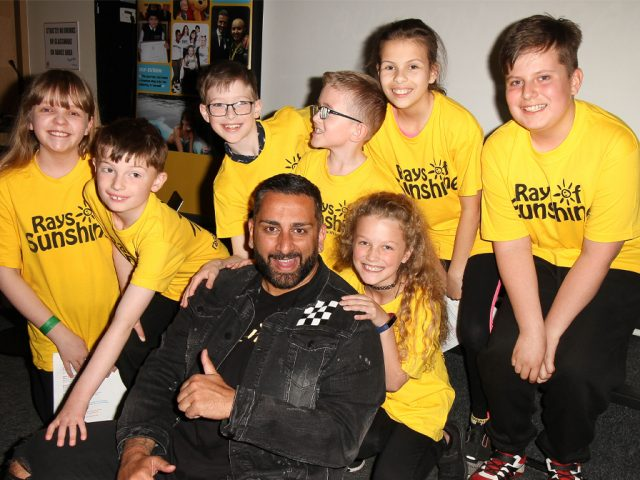 Rays of Sunshine ambassador Yianni Charalambous with Rays of Sunshine Children's Choir, which is made up of seriously ill children who have had their own wishes granted by the charity