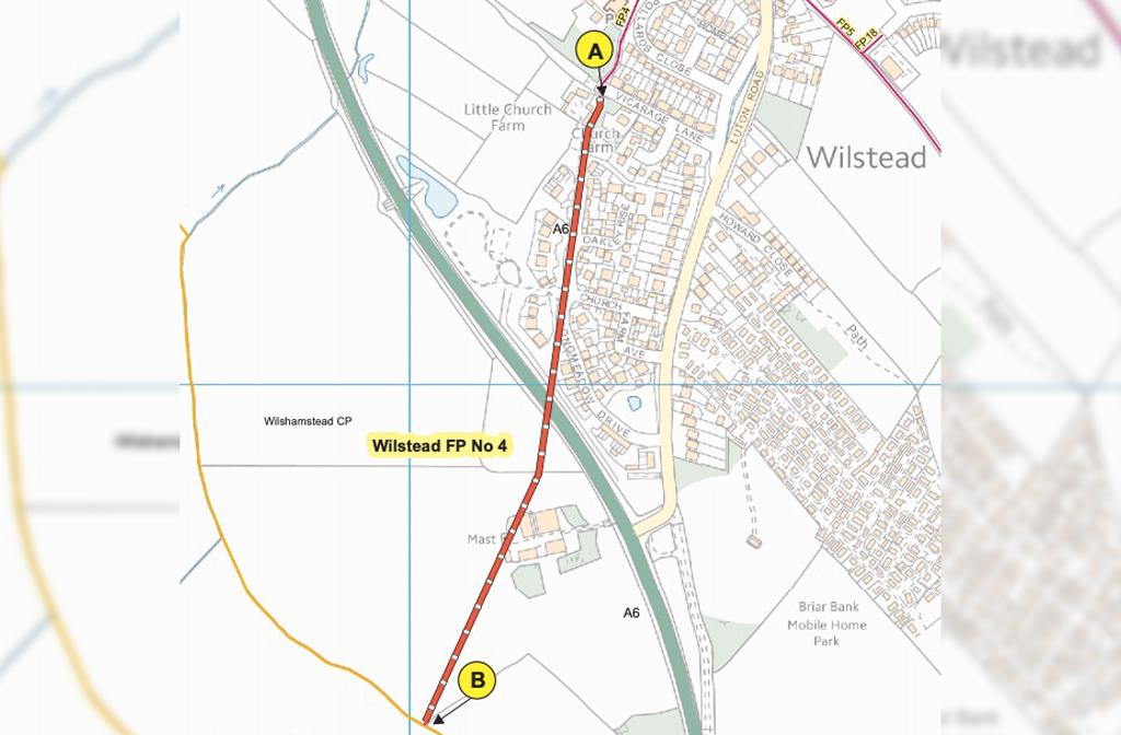 Footpath 4 Wilstead route