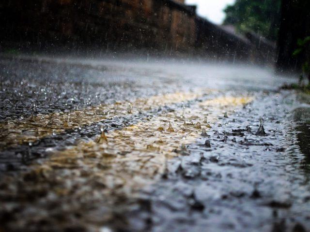 Rain road yellow lines