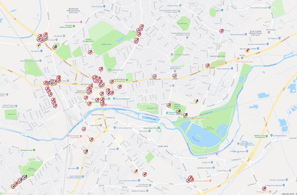 Roadworks in Bedford 2019 to 2020 1