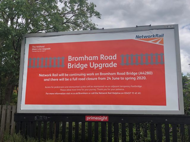Bromham Road bridge closure billboard