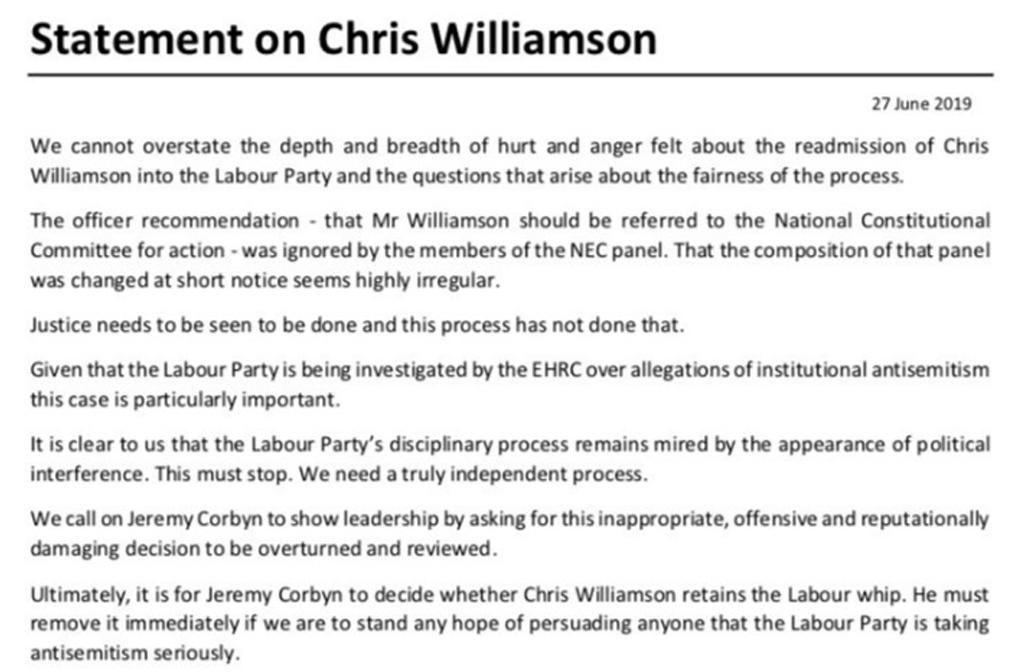 Statement on Chris Williamson
