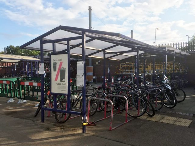 Bike racks at Bedford Train Station