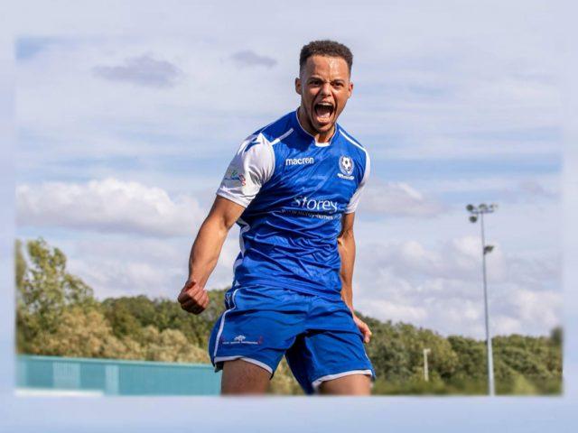 Tre Mitford celebrates scoring Bedford Town's winning goal