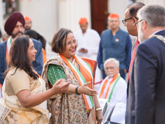 Vinita Manjure (Chairperson of Bandhan) introducing Her Excellency Ruchi Ghanashyam the High Commissioner Of India to Mohammad Yasin MP and Mayor Dave Hodgson
