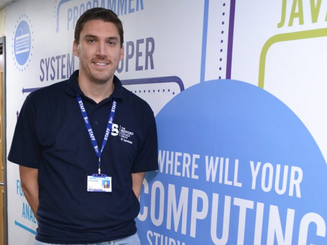 Phill with the careers map in computing at Bedford College's riverside campus off Cauldwell Street, Bedford
