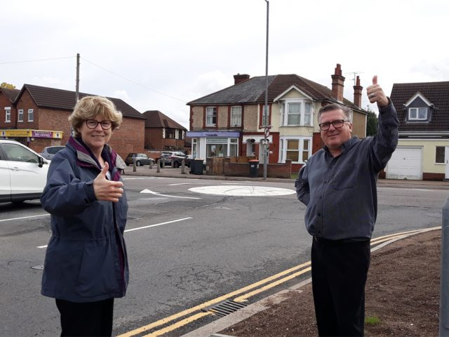 Goldington Ward Councillors Christine McHugh and Tim Caswell by the new Goldington Road Goldington Green roundabout