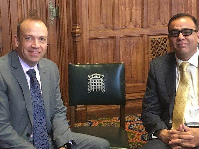 Rail minister, Chris Heaton-Harris and Mohammad Yasin MP