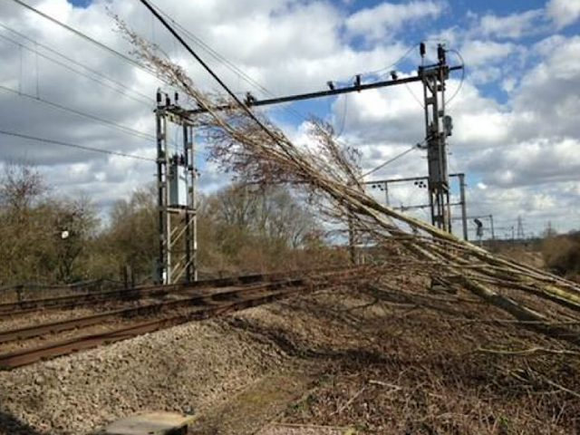 railway lines storm damage