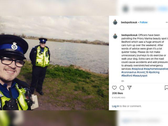 Bedfordshire Police Coronavirus patrol Priory Park