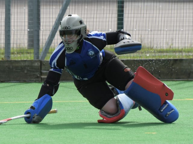 Goalie, Kate Summerfield, in action at the weekend