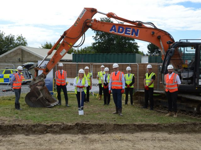 Bedfordshire Police officers join staff from Willmott Dixon and Bedfordshire's PCC to 'break ground' on the new Police HQ custody suite.