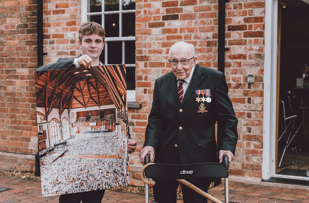 Benjie Ingram-Moore with his grandfather Captain Sir Tom Moore copy