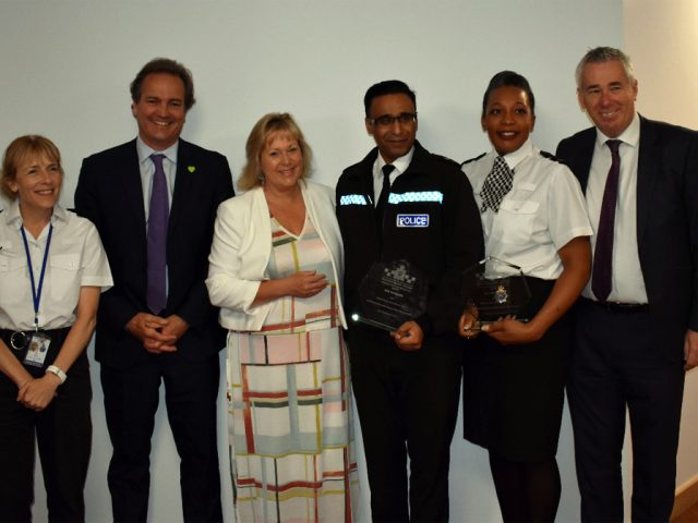 PC Ruth Honegan (second right) and Chief Inspector Mo Aziz (third right) is attached. They are pictured with from left, Assistant Chief Constable Jackie Sebire, former policing minister Nick Hurd, Bedfordshire Police and Crime Commissioner Kathryn Holloway, and former Bedfordshire Police Chief Constable Jon Boutcher.