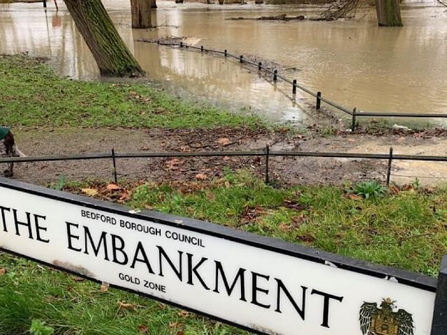 The Embankment, Bedford Borough River Great Ouse Floods December 2020