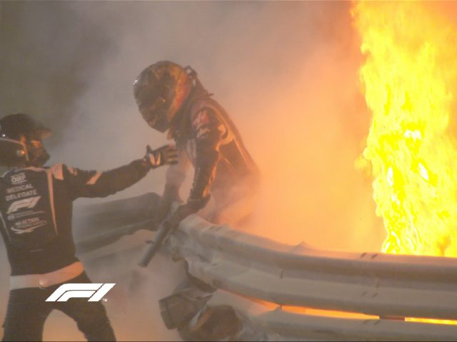 Romain Grosjean escapes from a ball of fire after crashing into a barrier at the Bahrain Grand Prix on 29 November 2020 (Image: Formula 1(@F1)/Twitter)