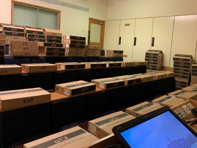 Bedford School IT department worked to get 150 laptops set up ready for donation