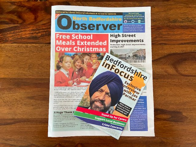 North Bedfordshire Observer and Bedfordshire in Focus Liberal Democrat Campaign Material 2021